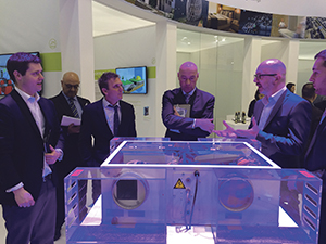 Graham Evans with clients during Milan exhibition
